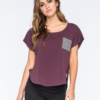 Krochet Kids Scallop Womens Pocket Tee Burgundy  In Sizes