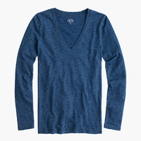 J.Crew Womens Indigo Vintage Cotton Long-Sleeve V-Neck T-Shirt