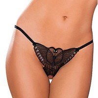 Lace Butterfly Crotchless Thong Panties - Spencer's