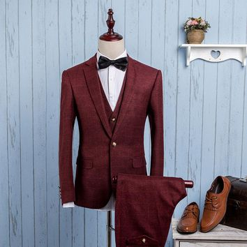 Men's Three-Piece Wide Plaid Business Suit