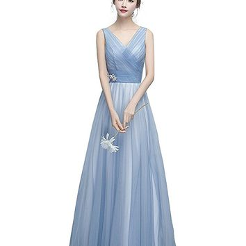 Women Light Blue Tulle V Neck Floor Length Bridesmaid Dress With Pleated Bodice
