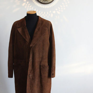 Men's 60s brown long suede leather coat