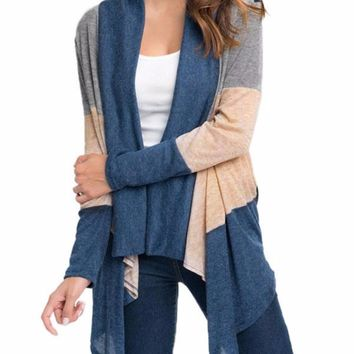Women's Gray Taupe Blue Colorblocked Striped Long Sleeve Cardigan Jacket