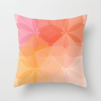 Geometric Flower Pillow Cover - Coral Peach Pink Orange -  Abstract Flower Throw Pillow - Modern Home Decor - By Aldari Home