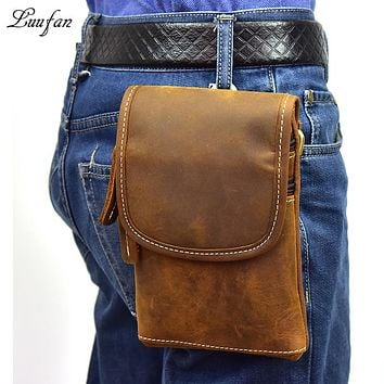 Men's genuine leather waist bag crazy horse leather small messenger bag real leather belt pack phone waist pouch