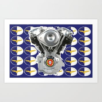 Azores Knucklehead Biker flag Art Print by Tony Silveira