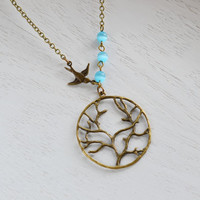 Tree of Life Necklace, Tree Necklace,Tree of Life with Sparrow Necklace,Flying Sparrow,Tree Bird Charm Necklace, Tree of Life Pendant