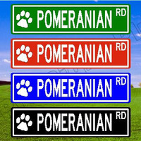 POMERANIAN Street Sign, POMERANIAN Gift, POMERANIAN Decor Custom Street Sign Metal Sign Aluminum Sign Personalized Dog Sign Paw Prints