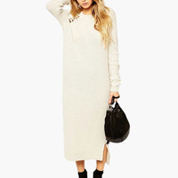 White Cut-Out Long Sleeve Knitted Maxi Dress