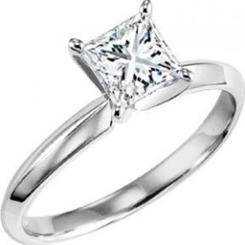 1ct Solitaire Princess Cut Diamond Engagement Ring