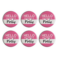 Polly Hello My Name Is Plastic Resin Button Set of 6