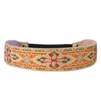 Intricate Maroque, beige and coral boho chic headband