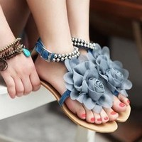 L 073005 Rose lace fashion beaded flat sandals