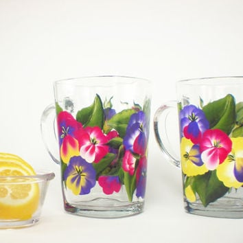 HandPainted Glass Mugs - Bright Spring Pansies Pink Purple Yellow, Coffee Tea Cup Set of 2,  Lg 16 oz - Mothers Day Summer Colorful
