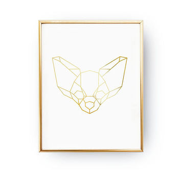 Chihuahua Print, Geometric Chihuahua, Real Gold Foil Print, Home Decor, Pet Gift, Dog Poster, Animal Poster, Pet Decor, Animal Lover,Dog Art