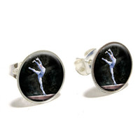 Gymnist Blue - Gymnastic Vault Pommel Horse Earrings