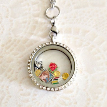 Bell Beauty and the beast inspired  Memory locket with crystals