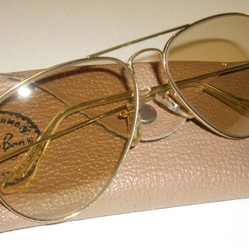 CIRCA 1970s 58mm B&L RAY BAN BROWN PHOTOCHROMIC CHANGEABLES AVIATOR SUNGLASSES *