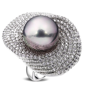Rings for girl rhodium plated with Cubic zircon & imitation pearl copper Ring new designer fashion jewelry Free shipping