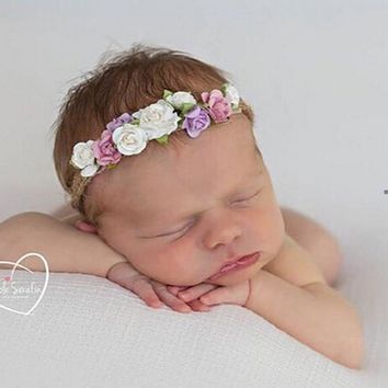 Flower Newborn Headband Tieback Flower Crown Kids Bohemian Crown Headband Children Girls Crown Tiara Headband Hair Accessories
