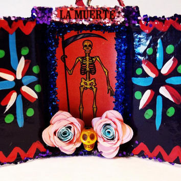 La Muerte Loteria Ornament / Assemblage / Collage / Paper Mache