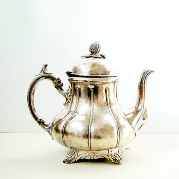 Antique Silverplate Teapot by Philip Ashberry & Sons of Sheffield , England , Very Rare Coffee Pot