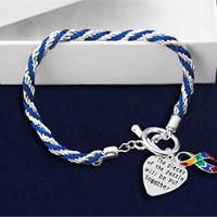 AUTISM AWARENESS SUPPORT BLUE Rope Bracelet Puzzle Ribbon and Charm Brand New in Gift Box