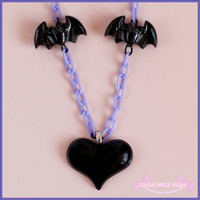 Black Heart & Bat necklace - creepy cute