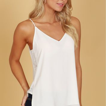 Shredded Detailed V-Neck Tank Off White