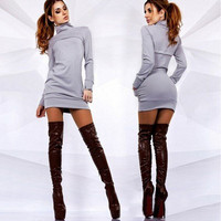 High-Necked Slim Package Hip Dress