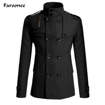 Faroonee Mens Fashion Wool Trench Coat Stand Collar Double-breasted Wool Blend Jacket Outerwear Coats Slim Warmer Jackets Y2142