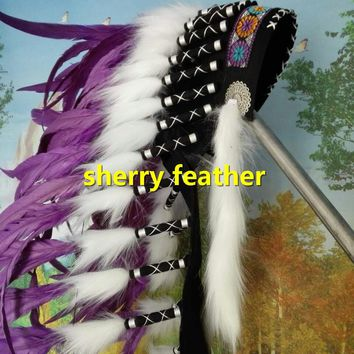 28inch purple Indian Feather headdress chief indian warbonnet halloween dancewear supply feather hat