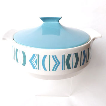 Retro Ovenware 1960 Turquoise Serving Casserole Dish Tureen, Midcentury Modern Cookware, Empire Porcelain Staffordshire Caldor