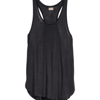 H&M - Linen-blend Tank Top - Black melange - Ladies