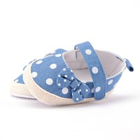 Newborn Baby Kids Girls Bowknot Polka Dots Crib Shoes Infant Anti Slip Shoes 0-1Y