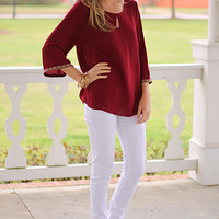 Native Bands Blouse, Burgundy