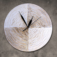 Modern WALL CLOCK, White wall clock, wood clock, white home decor, white gold