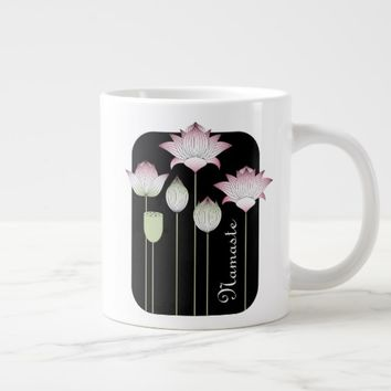 Pink Lotus Flower Modern Vintage Personalized Large Coffee Mug