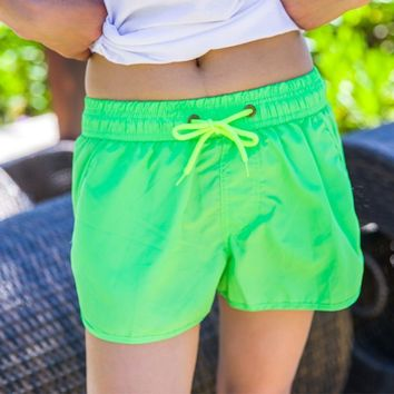 New Solid Green Short Pants Couples Swimwear Summer Sexy Quick Dry Surfing Beach Shorts Men Women Lovers Beach Boardshorts