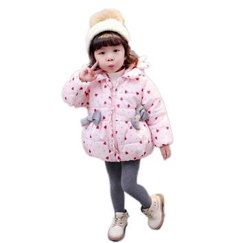 Winter Baby Clothing Girls Love Heart Jackets Infant Cute Thick Warm Snow Wear Outerwear Bow Girls Cotton Coat Toddler Clothes