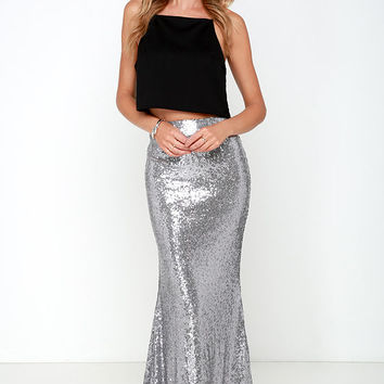 Kickin' Up Stardust Silver Sequin Maxi Skirt