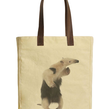 Collared Anteater Beige Printed Canvas Tote Bags Leather Handles WAS_30