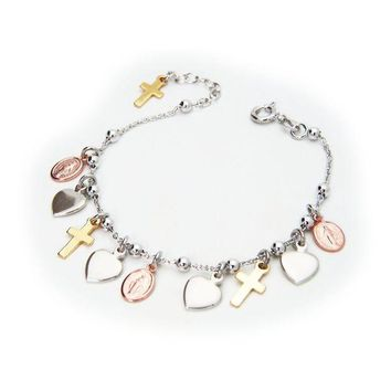 ESB1ON Beckids Religious Charm Bracelet Sterling Silver Milagrosa Virgin Pink Medals  Gold Crosses and Hearts