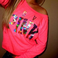 PINK Victoria's Secret Fashion Letter Print Long Sleeve Shirt Top Tee