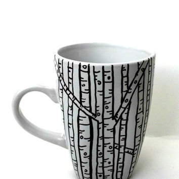 Rustic Birch Tree Coffee Mug- White