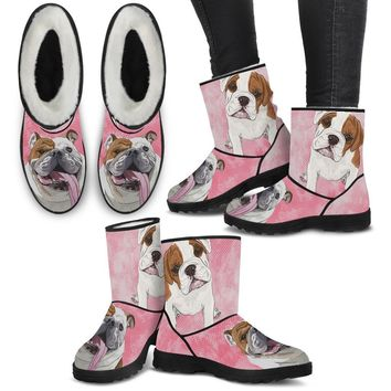 Bulldog Print Faux Fur Boots For Women-Free Shipping