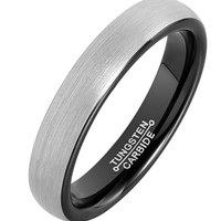 4mm Tungsten Rings for Men Wedding Engagement Band Brushed Black (Platinum)