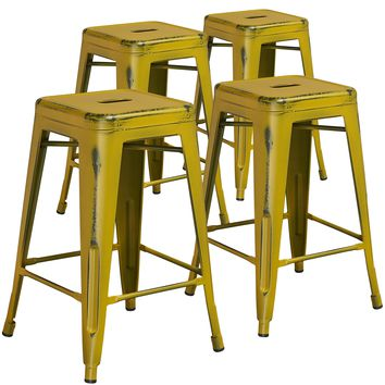 4 Pk. 24'' High Backless Distressed Metal Indoor-Outdoor Counter Height Stool