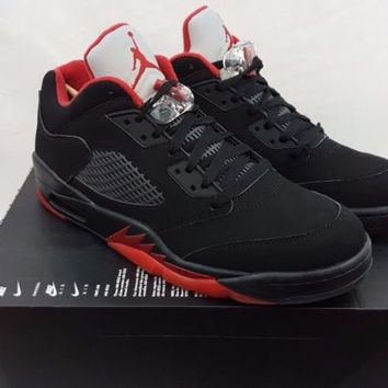 Nike Air Jordan 5 Retro Low Alternate V Size 10.5 Black Gym Red Shoes 819171-001