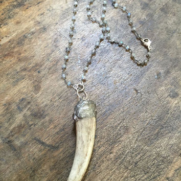 Antler Soldered Pendant, Horn Necklace, Labradorite Gemstone, Naturally Shed, Boho Jewelry by Two Silver Sisters